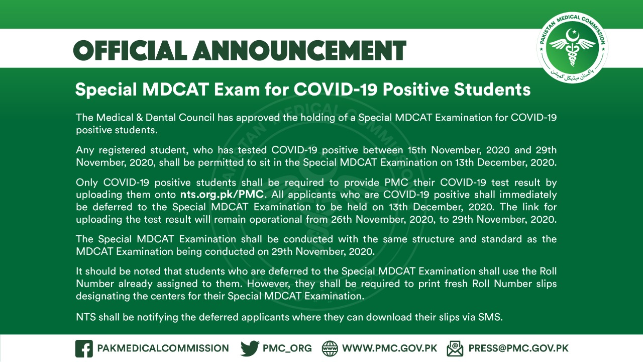 Special MDCAT exams for COVID-19 patients