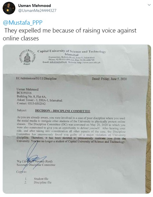 CUST expels a student for raising voice against the faulty online education system