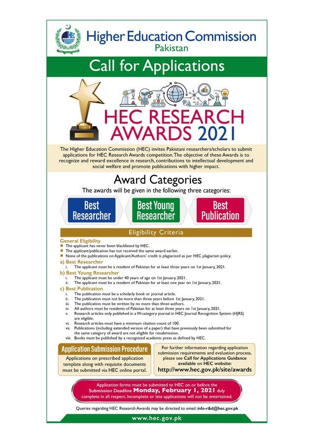 ایچ ای سی نے ریسرچ ایوارڈ 2021 کے لئے درخواستیں کھول دیں