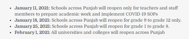 Punjab announces the plan for reopening of schools