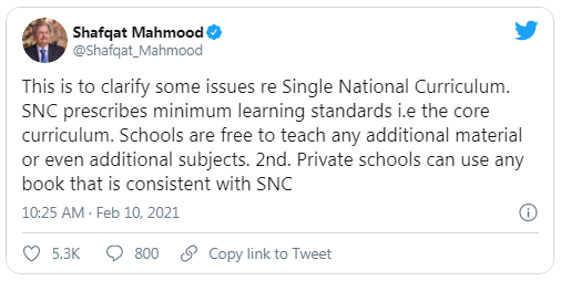 Shafqat Mehmood clarifies two points about Single National Curriculum