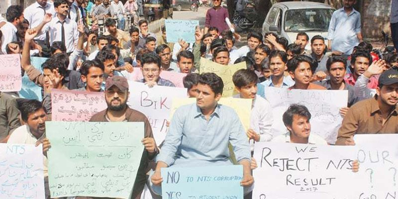Candidates protest against paper leak in KP