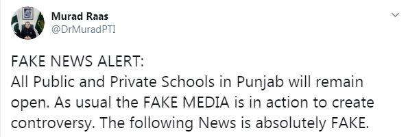 وزیر تعلیم پنجاب مراد راس نے 25 اکتوبر سے اسکولوں کی بندش کی خبروں کو بے بنیاد قرار دے دیا