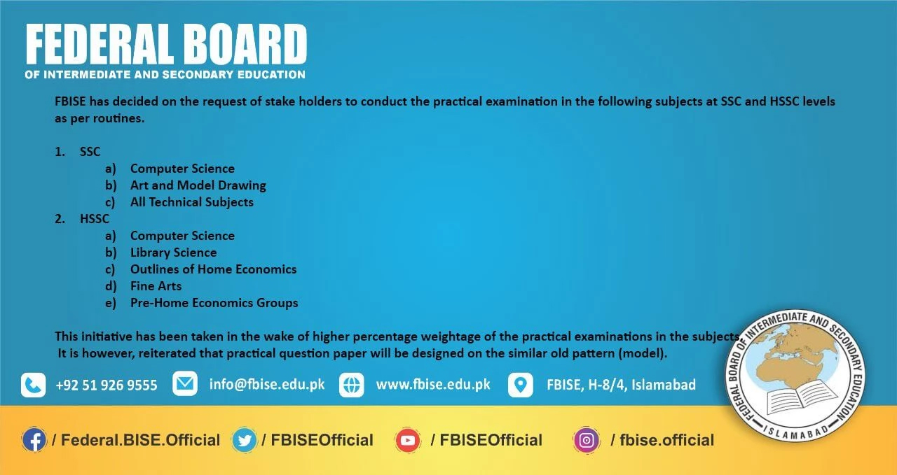 FBISE to conduct practical exams