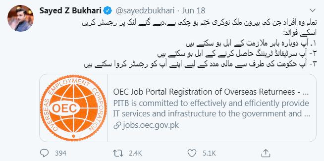 حکومت نے بیرون ملک میں مقیم پاکستانیوں کے لئے جاب پورٹل کا آغاز کردیا