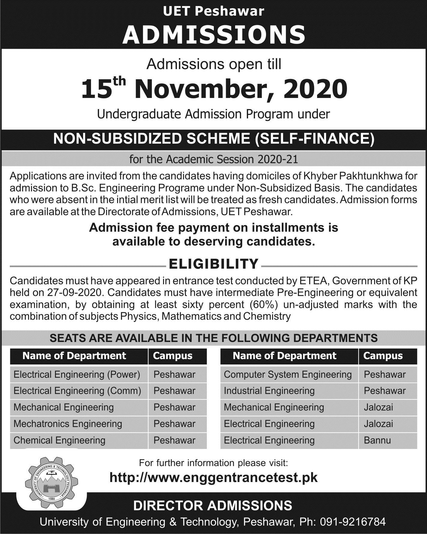 UET Peshawar extends the admission deadline for B.Sc Engineering