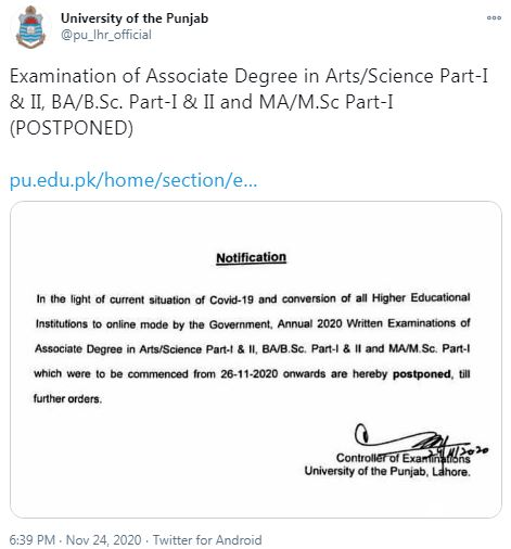 Punjab University issues a notification about exams