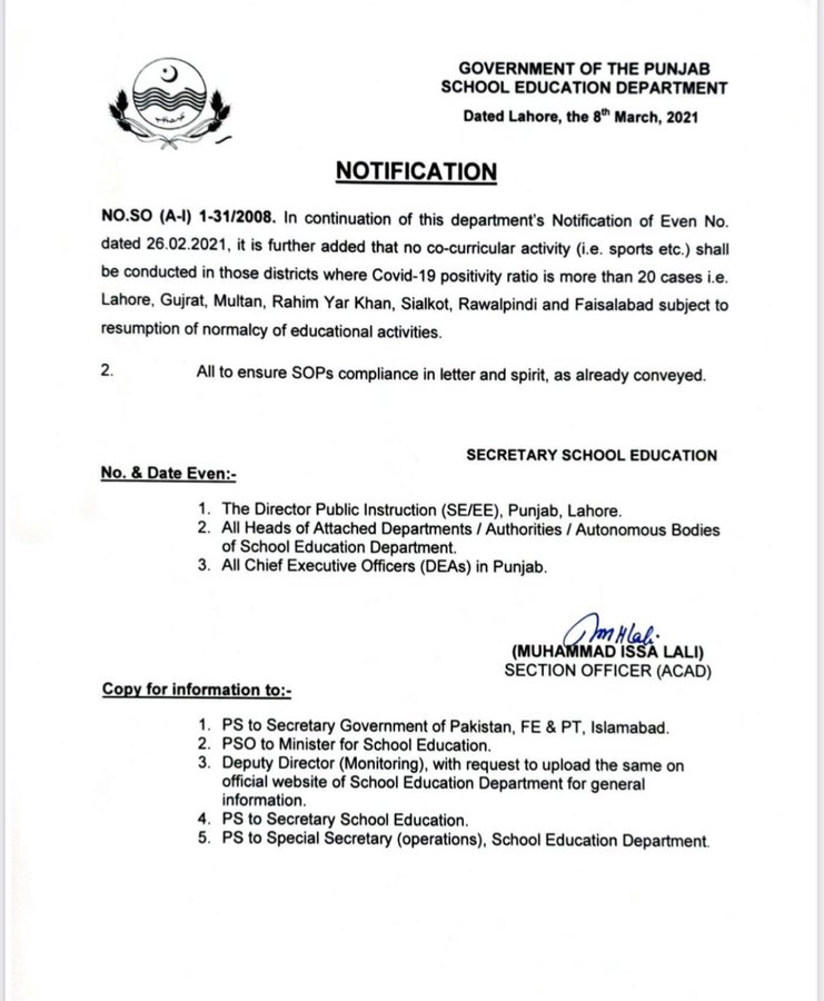 Punjab imposes ban co-curricular activities in schools