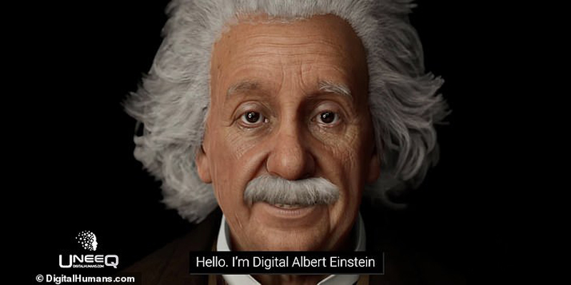 Digital Albert Einstein is here to help you with your science homework