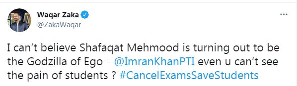 Waqar Zaka calls Shafqat Mahmood 'The Godzilla of Ego'
