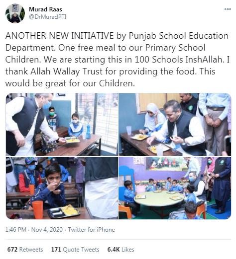 Govt of Punjab starts free lunch service for students